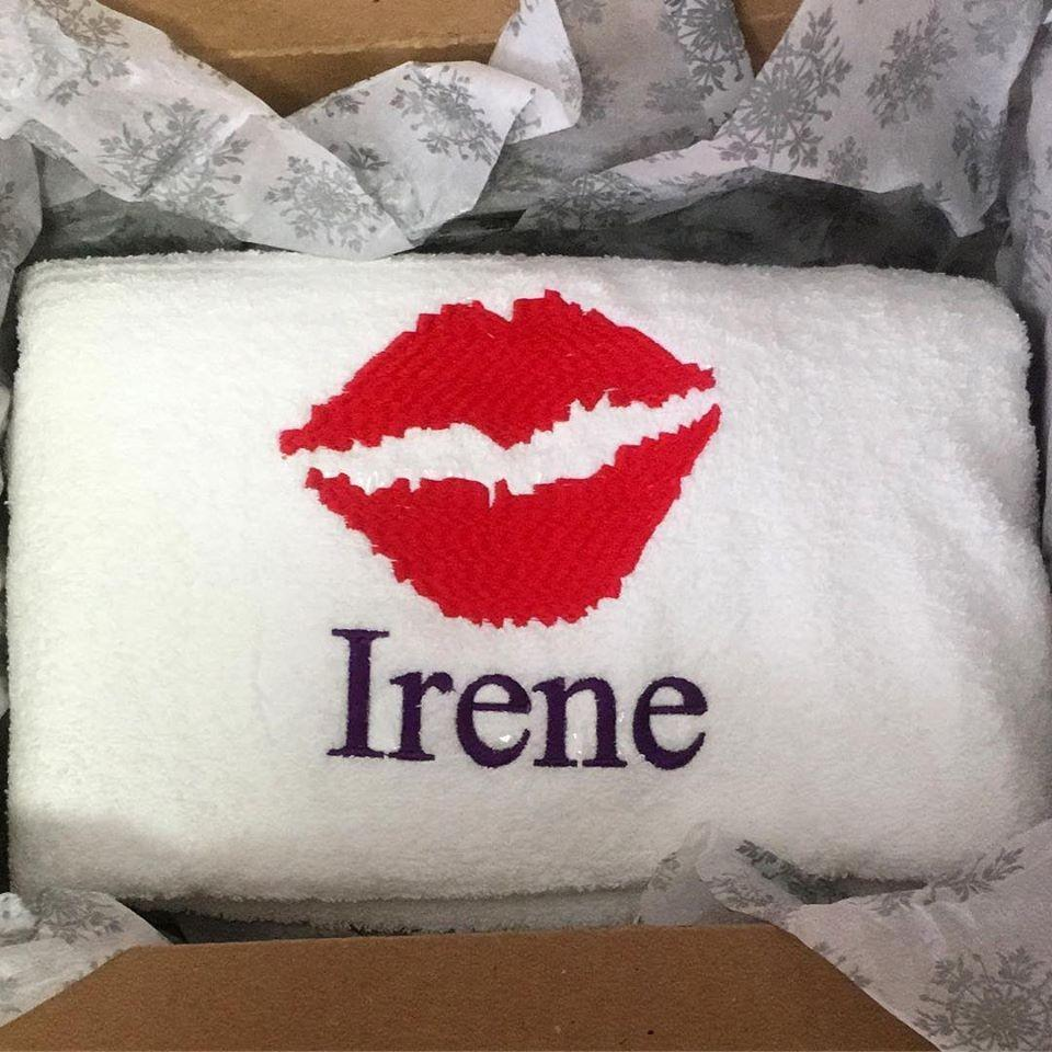 Personalized Lip Monogrammed White Towel