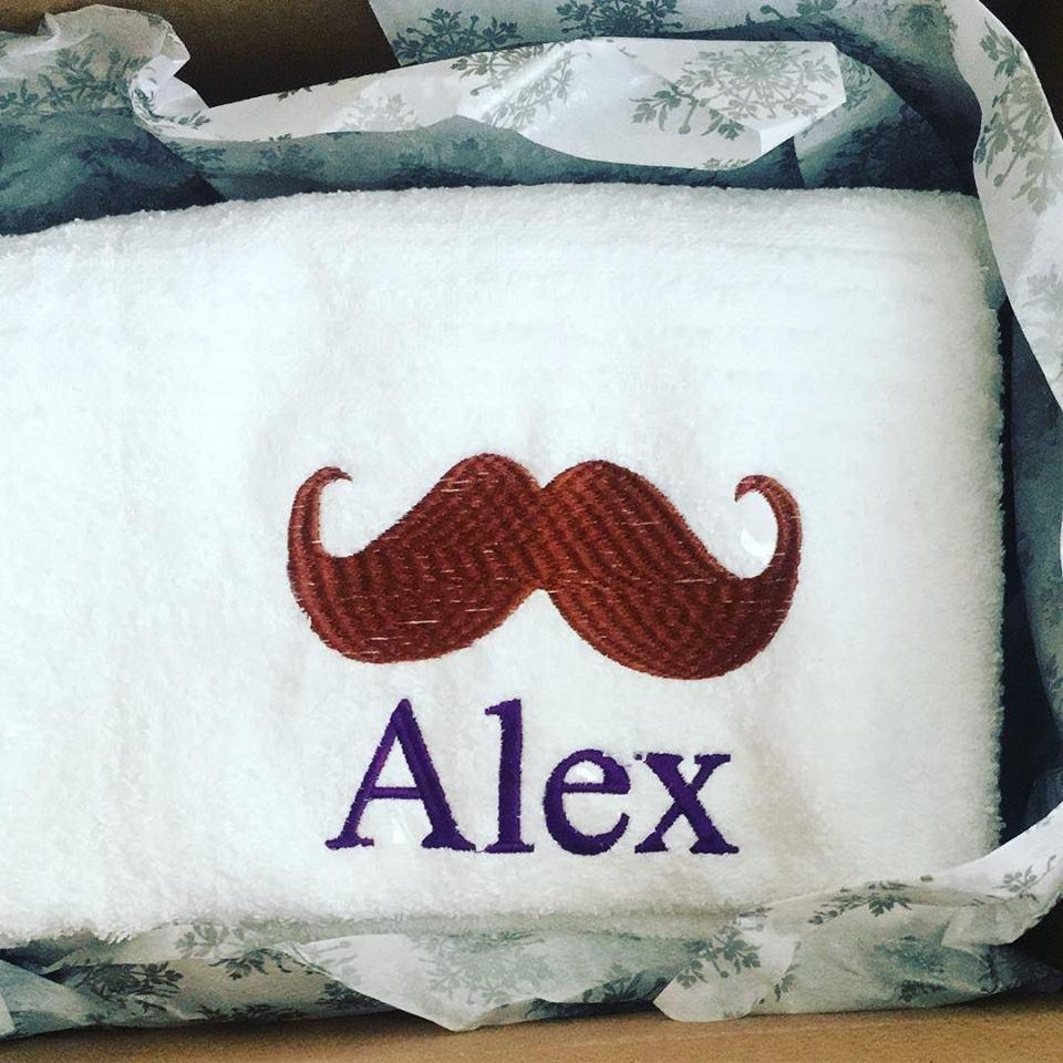 Personalized Moustache Monogrammed White Towel