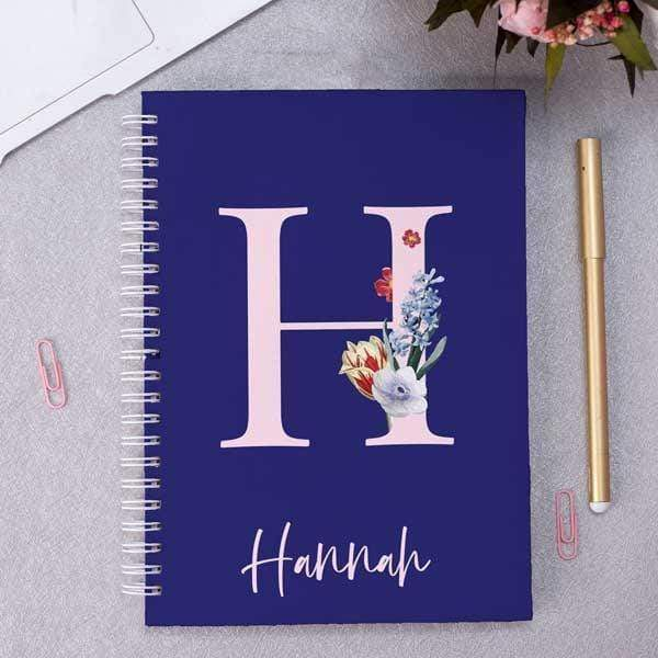 Personalised A5 Flower Monogram & Name Notebook