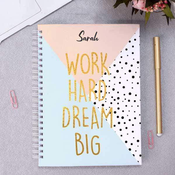Personalised A5 Notebook - Work Hard Dream Big