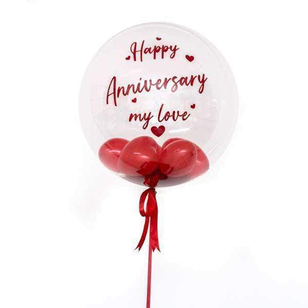 Personalised Bubble Balloon (With Red Heart-shaped Balloons) - Happy Anniversary My Love