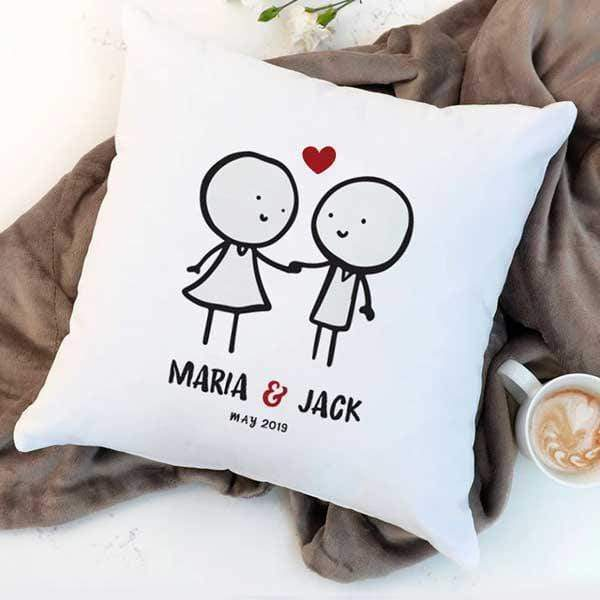 Pillow Case Personalised Cotton Throw Pillow - Couple