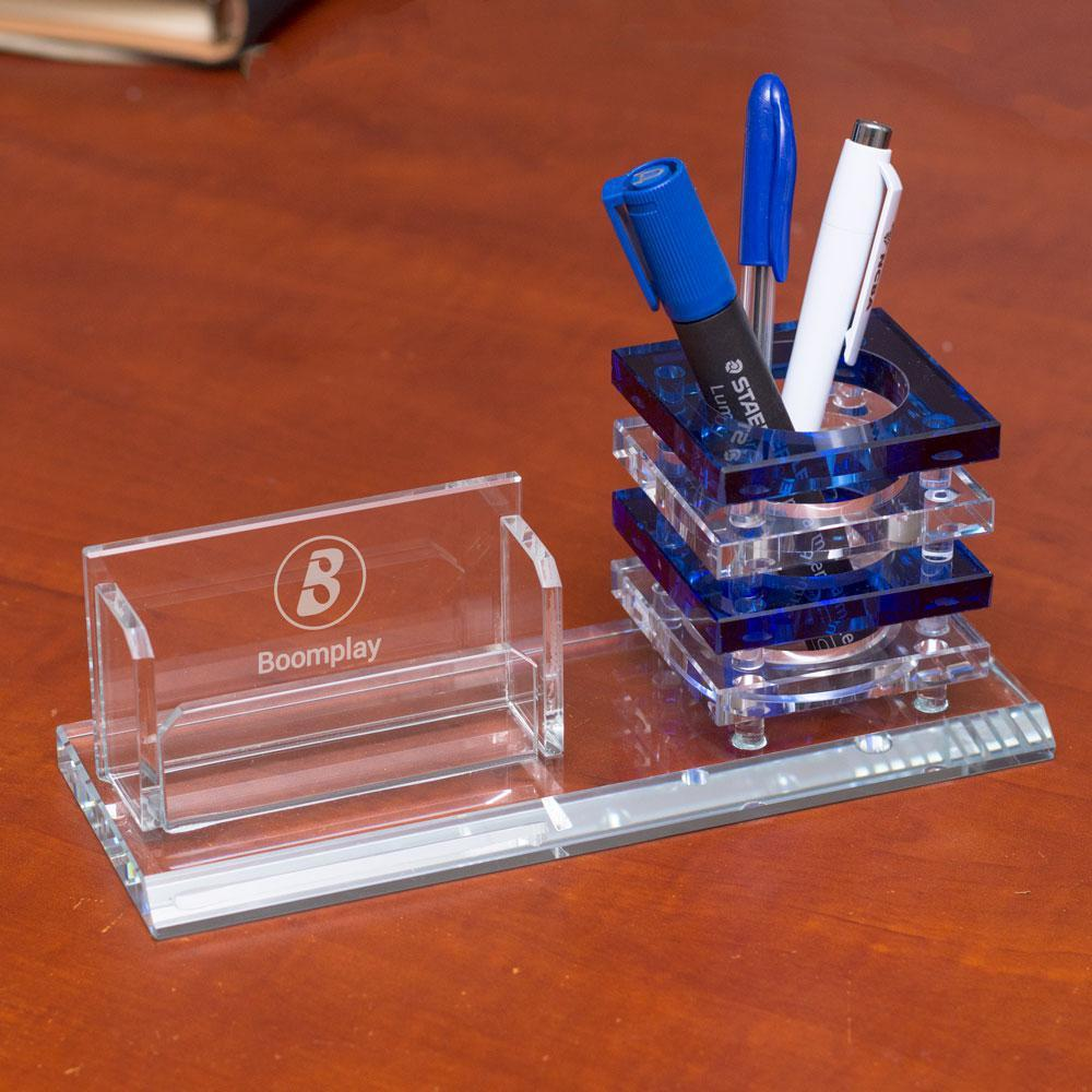 Desk Organiser Personalised Crystal Desk Organiser-Blue Stripped