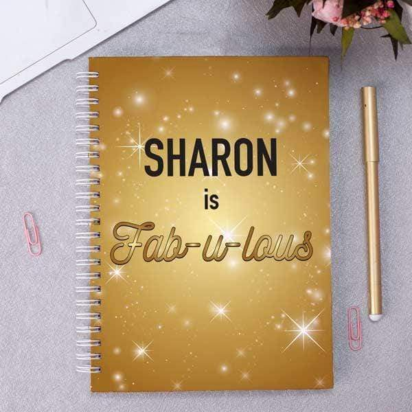Personalised Gold Cover Notebook - Name & Message