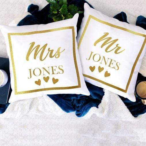 Pillow Case Personalised Gold Printed Mr. & Mrs. Cotton Throw Pillow Covers
