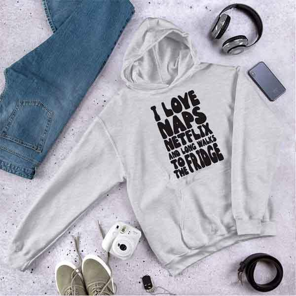 Personalised Grey Hoodie - I Love Naps