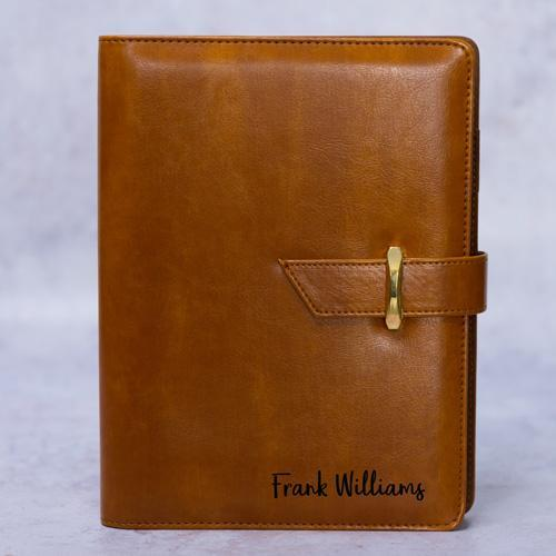 Personalised Leathersque Brown Notebook