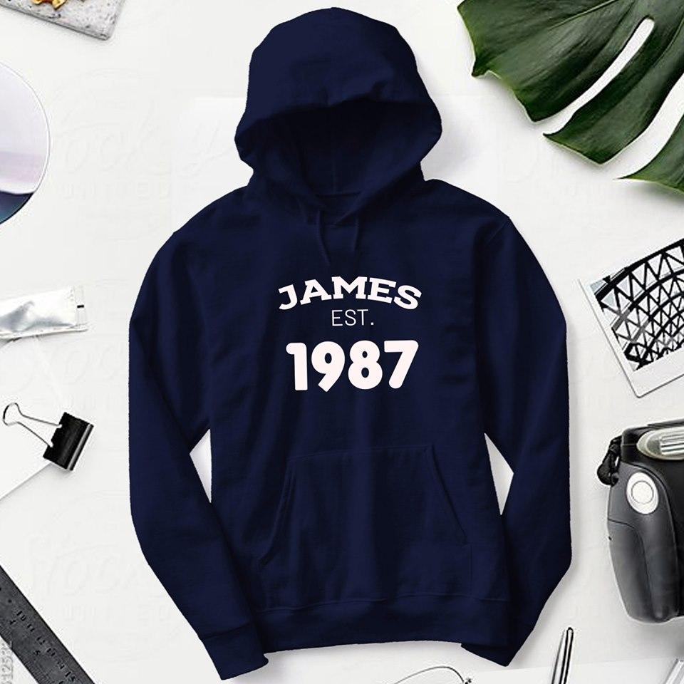 Personalised Navy Blue Hoodie - Name & Year