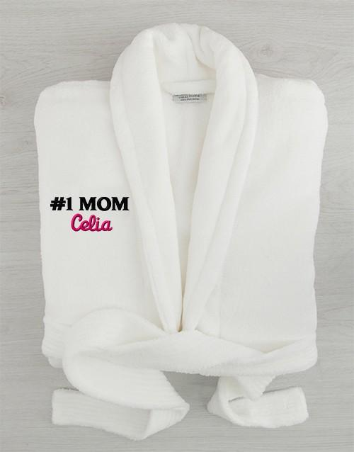 Personalized Personalised Number # 1 Mom White Bathrobe