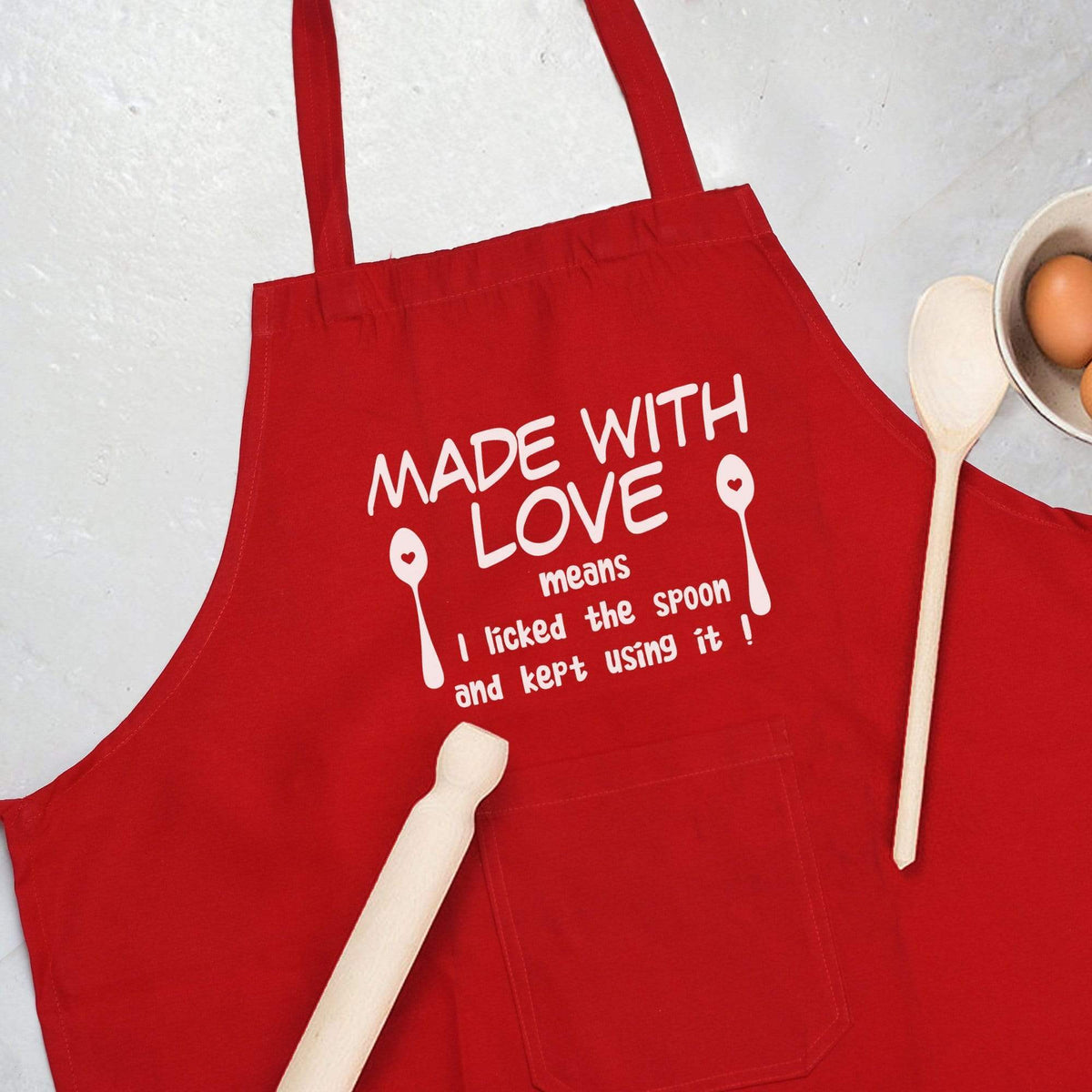 Apron Personalised Red Apron - Made with love