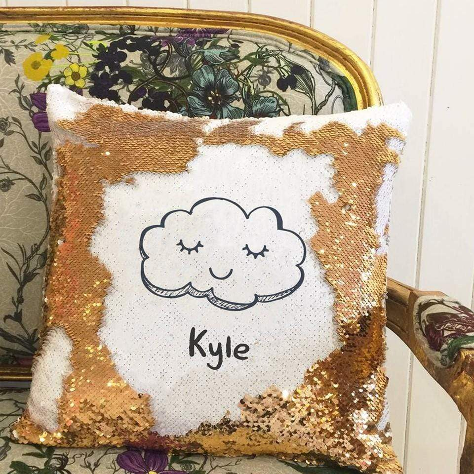 Pillow Case Personalised Sequin Cotton Throw Pillow Cover - Name