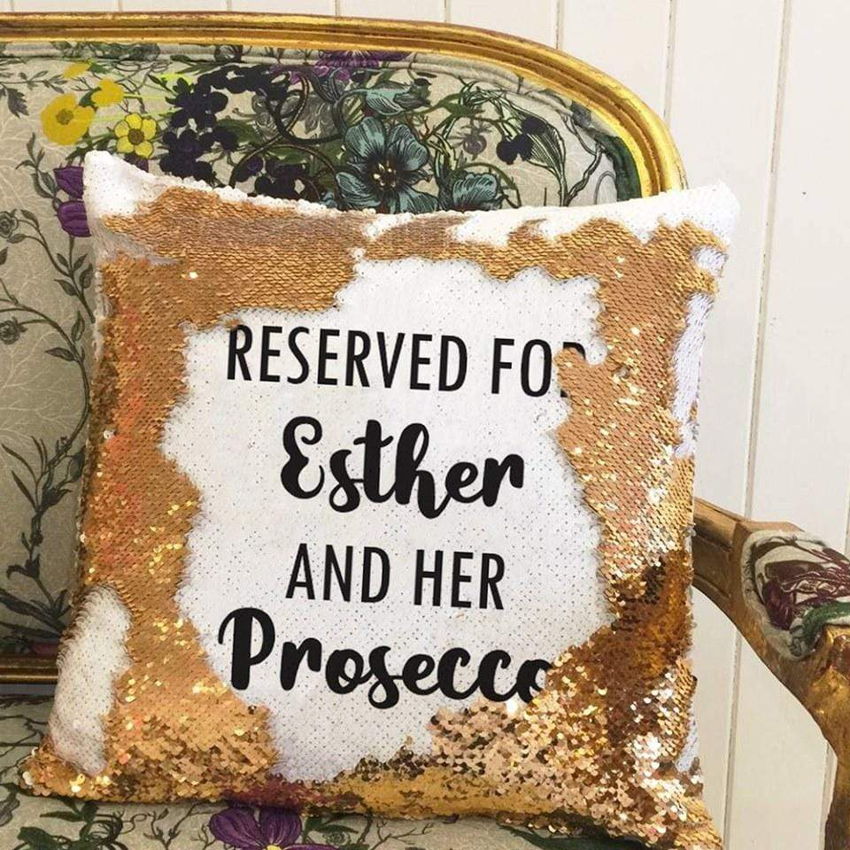 Pillow Case Personalised Sequin Cotton Throw Pillow Cover - Reserved For