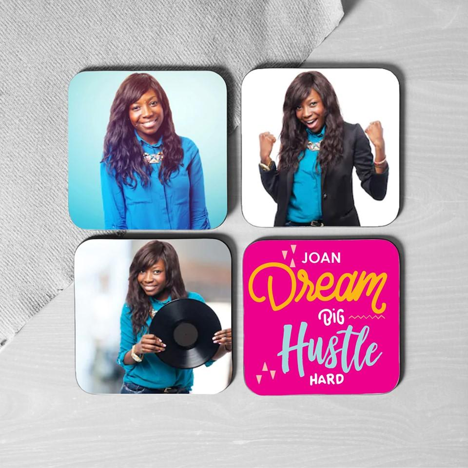 Coasters Personalised Set of 4 Coasters - Photos +Name