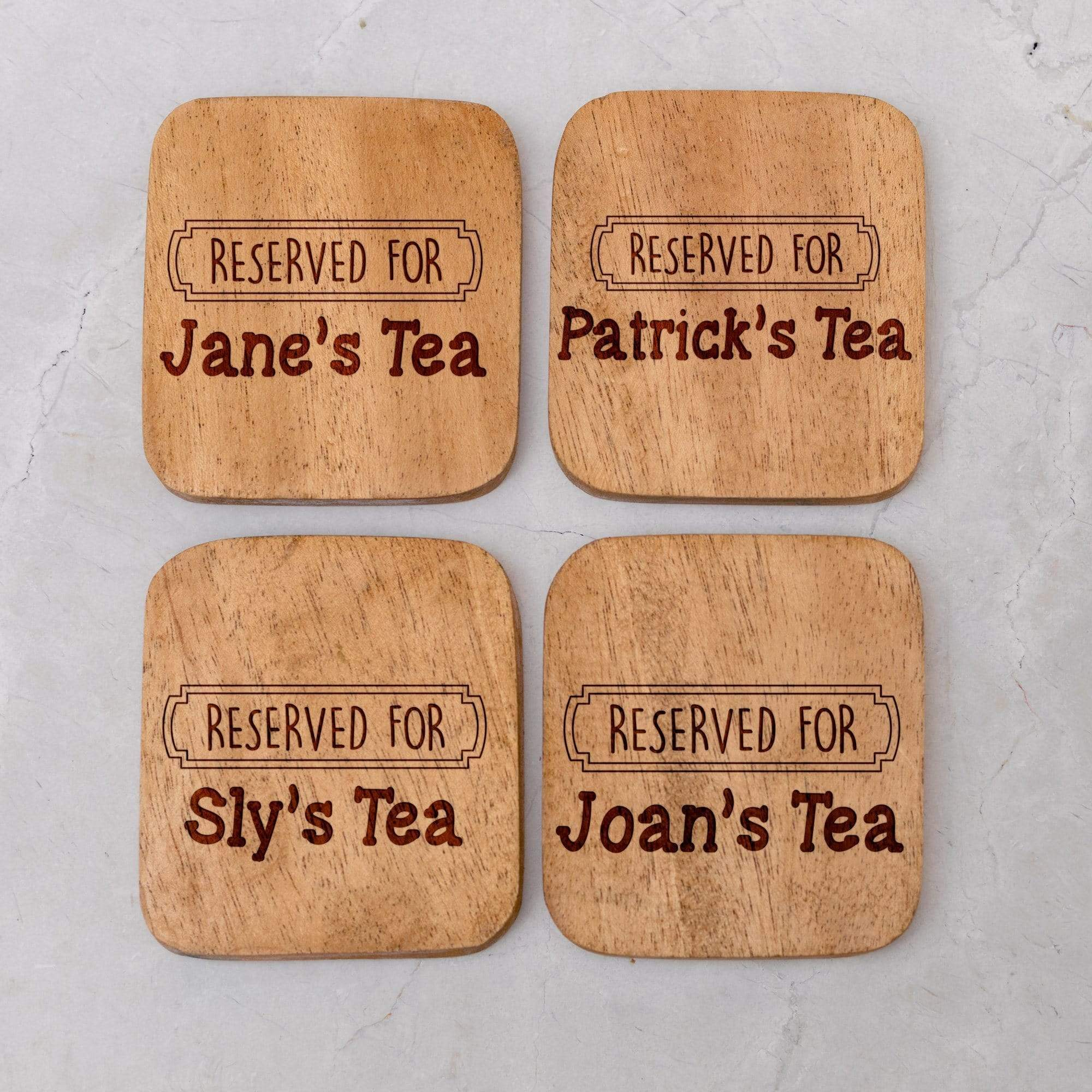 Personalised Set of 4 Wooden Coasters - Reserved For...