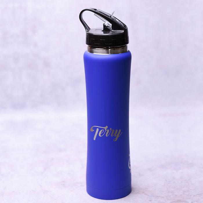 Personalised Water bottle Blue Personalised Sports Water Bottle, 500ml - Name