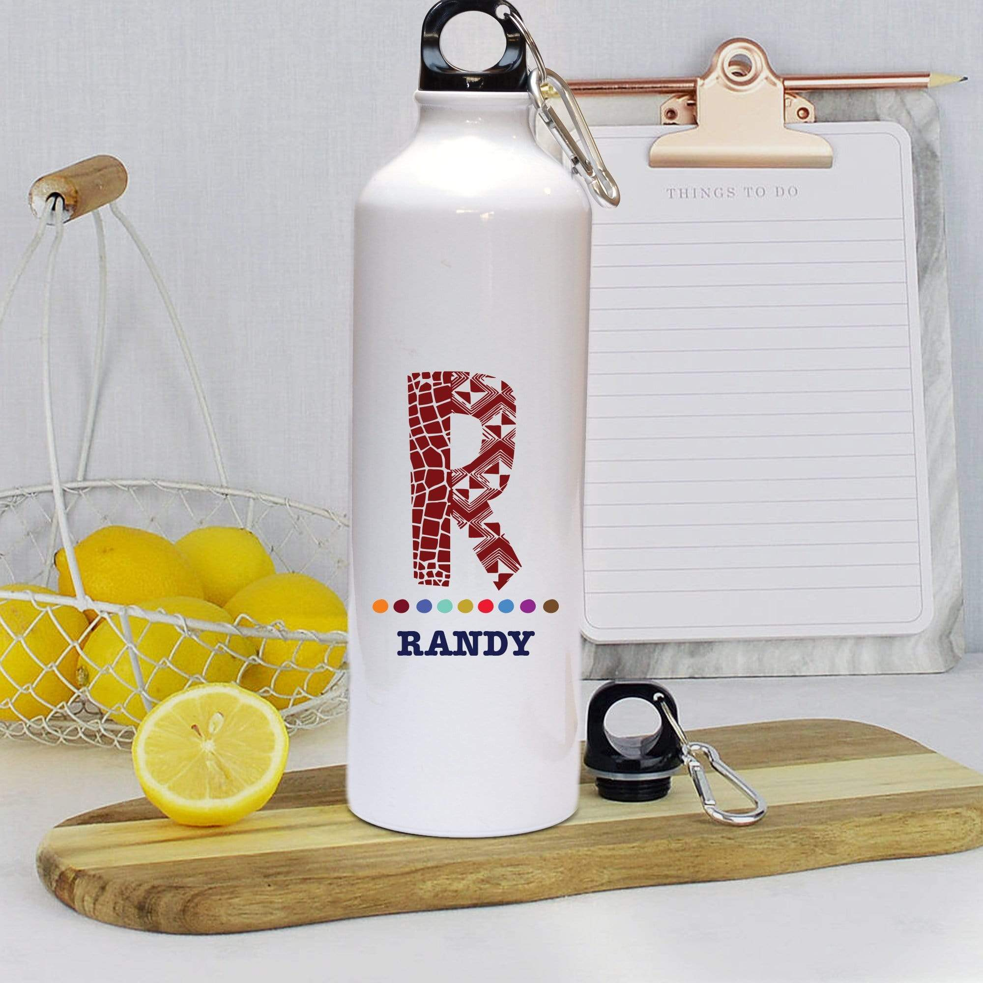 Water bottle Personalised White 'Name and Initial' Water Bottle