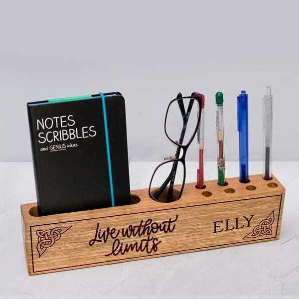 Personalised Wooden Desk Organiser - Live Without Limits