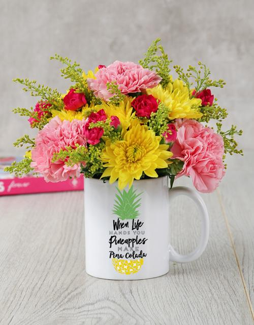 Flowers Pina Colada Mug Arrangement