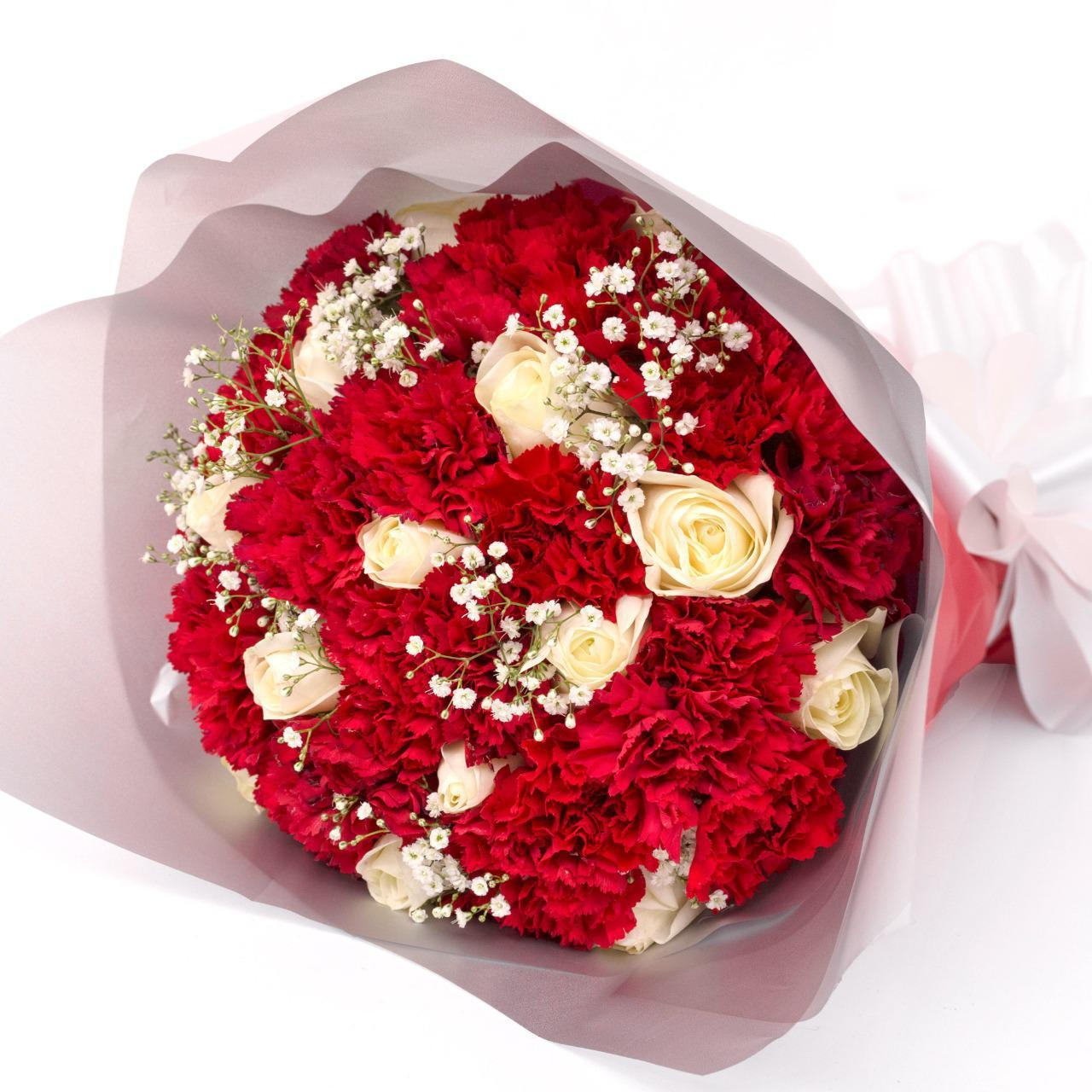 Flowers Red Carnations and White Roses Bouquet