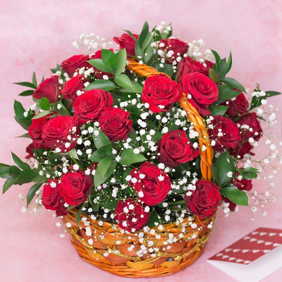 Flowers Red Roses in Basket Arrangement