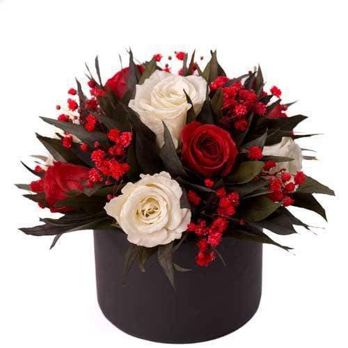 Red & White Forever Roses Gift Box
