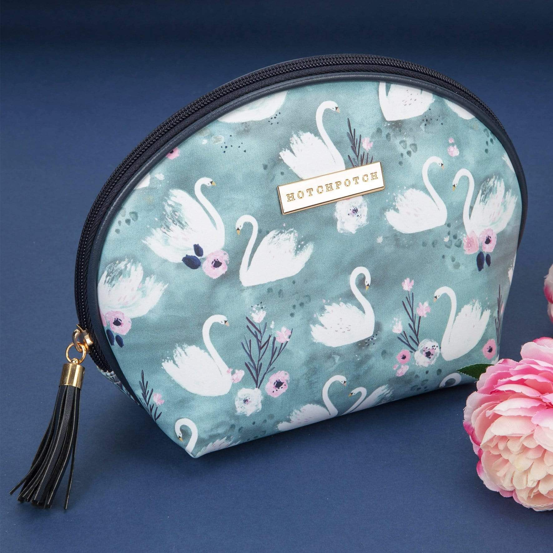 Cosmetics Bag Swan Lake Blue Leatherette Pouch