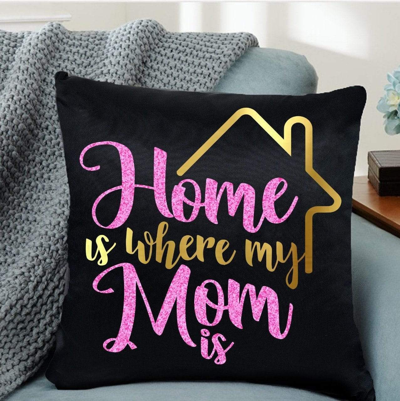 Pillow Case Throw Pillow Cotton - Home is Where Mum Is
