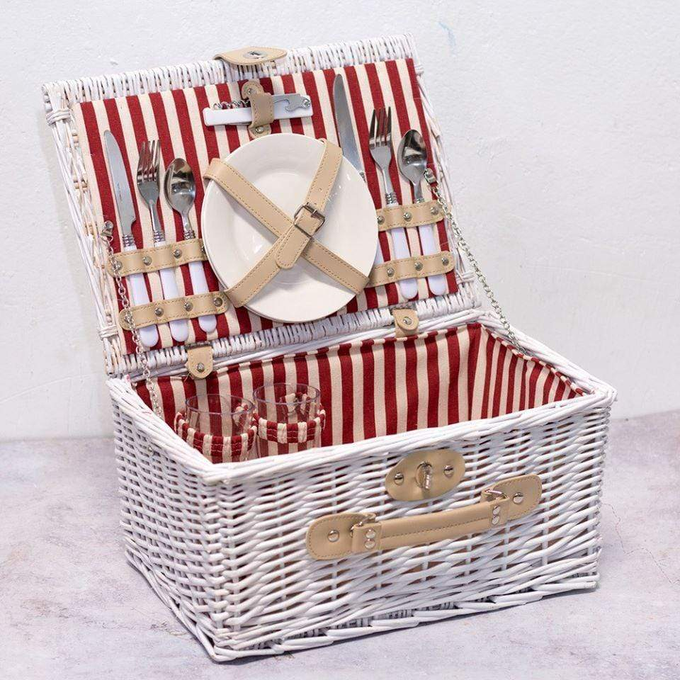 Picnic Basket White Striped Willow Picnic Basket For Two