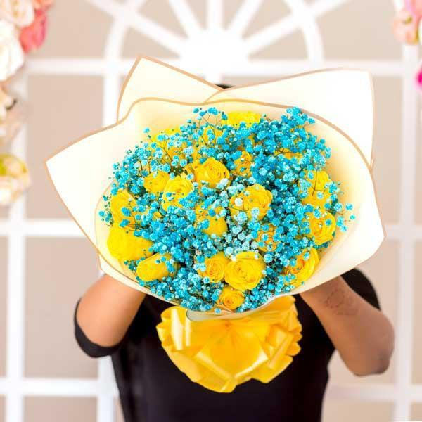 Yellow Roses and Blue Baby's Breath Bouquet
