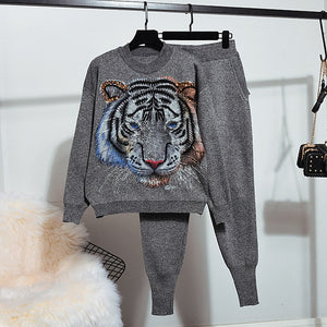 Two-Piece Beaded Tiger Lounge Wear