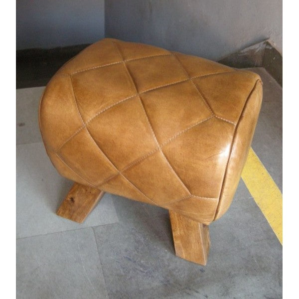 Quilted Leather Pommel Horse Footstool