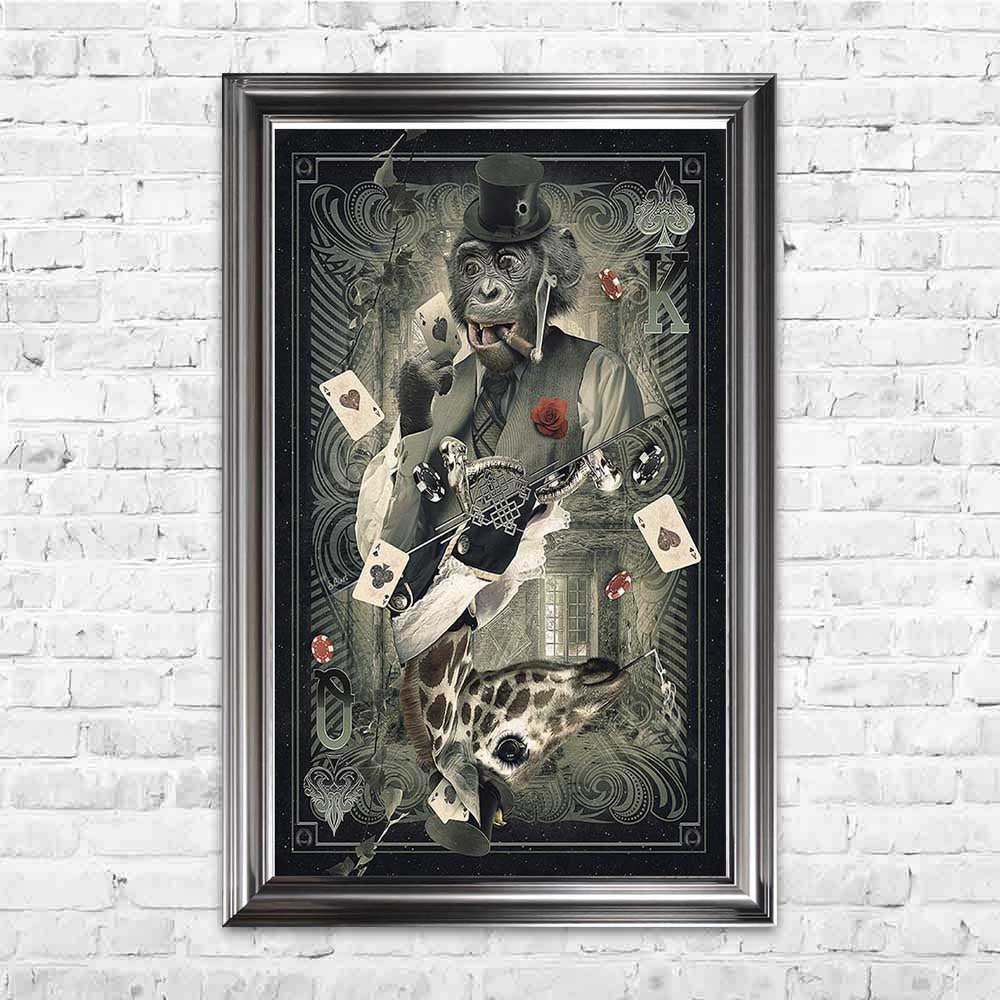 sylvain binet monkey giraffe card poker framed art