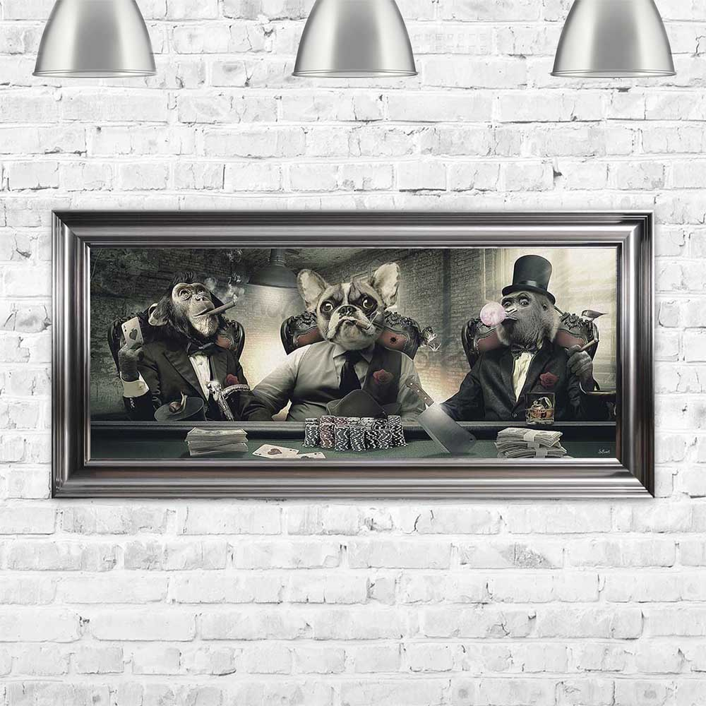 French Bulldog and Monkey mafia poker school Sylvain Binet Framed Art