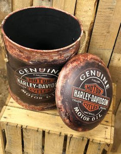 Harley Davidson storage stool / tub / barrel