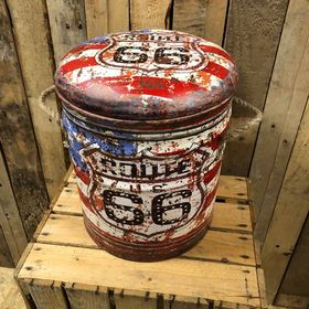 Route 66 Retro storage stool / tub / barrel seating