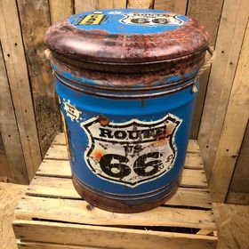 Route 66 storage stool / tub / barrel seating
