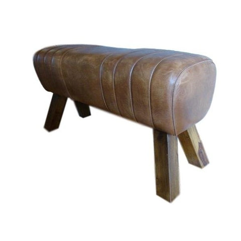 Brown Pommel Horse Style Leather Bench