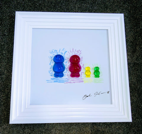 Jelly Baby Family Portrait Handmade Jake Johnson 3D Liquid Art Picture - Couple + 2 children