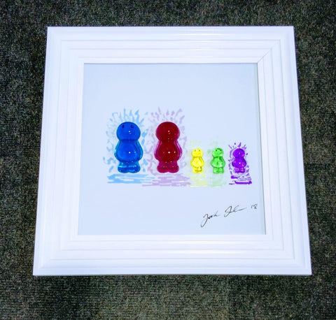Jelly Baby Family Portrait Jake Johnson Handmade 3D Liquid Art Picture - 2 Adults + 3 Children