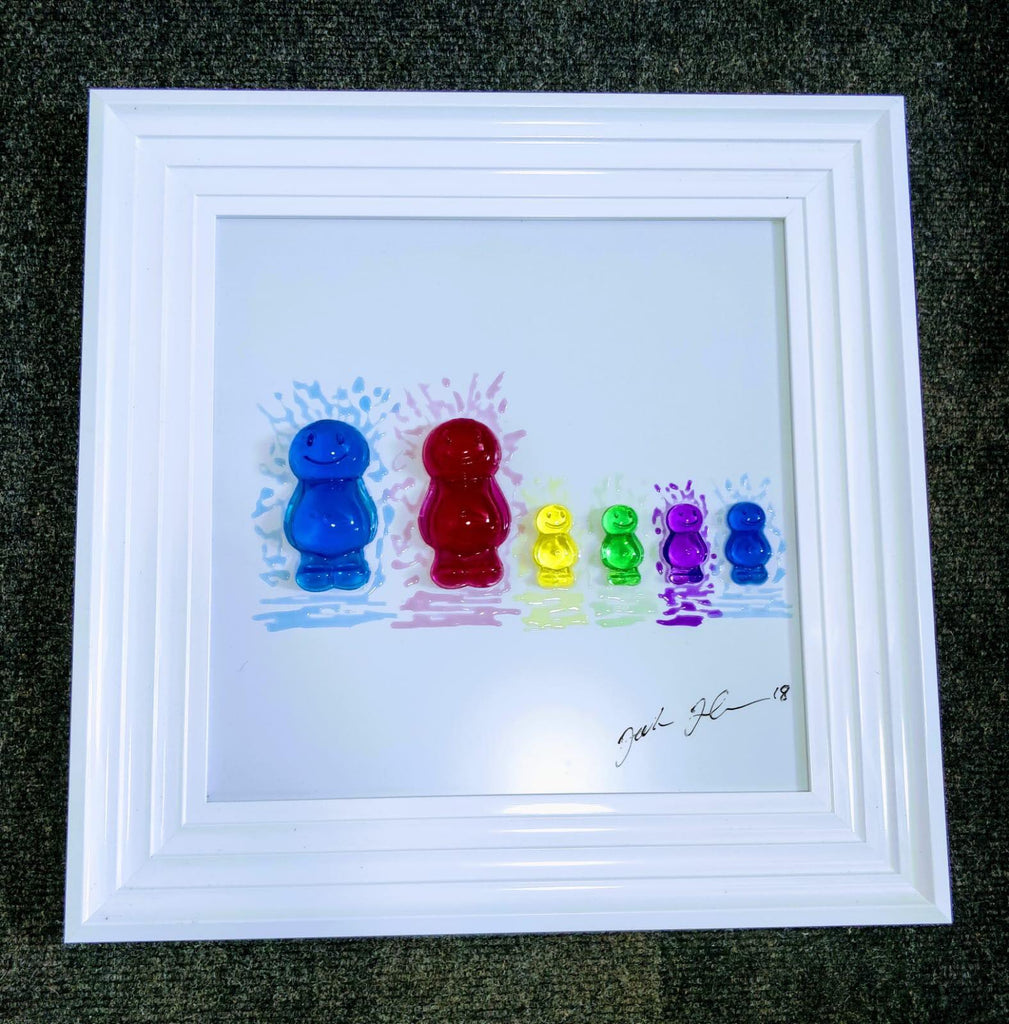 Jelly Baby Family Portrait Jake Johnson Handmade 3D Liquid Art Picture - 2 Adults + 4 Children