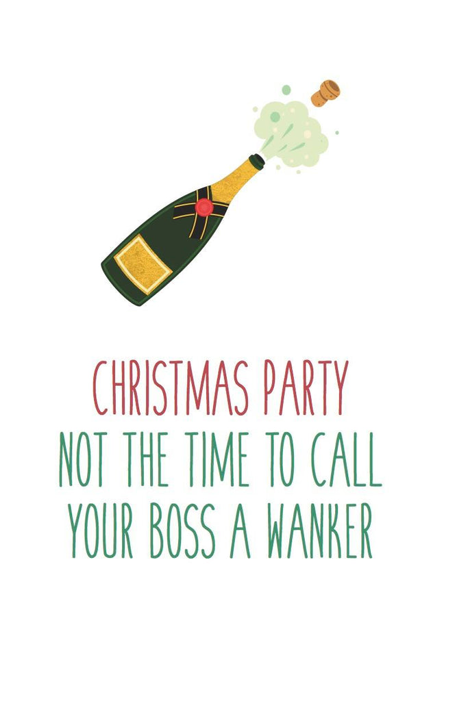 Funny Rude Christmas Card - Works Party Wanker Boss