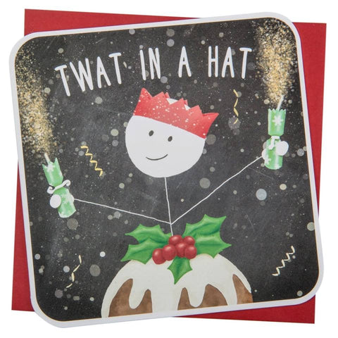 Twat in a hat funny Christmas Card