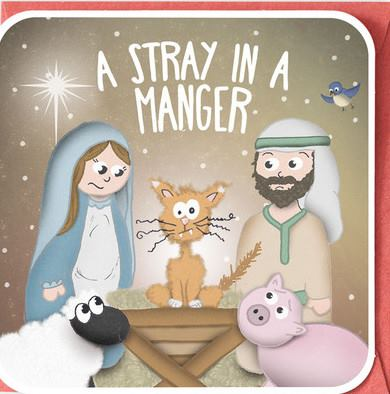 Stray in a Manger Cat Lovers Christmas Card