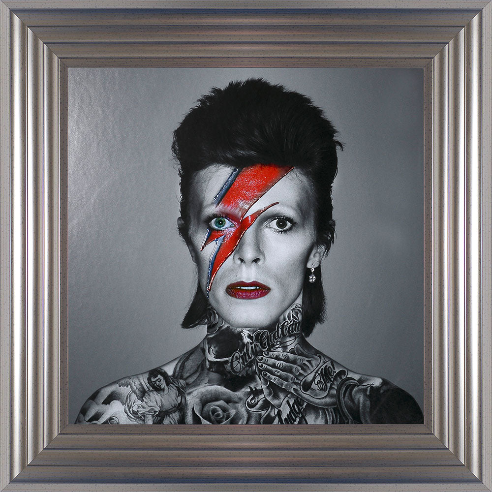 David Bowie Liquid Art Tattoos Biggon Framed Print Artwork Picture