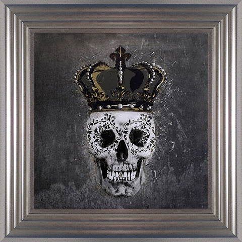 Swarovski Crystals Skull and Crown King Liquid Art Framed
