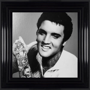 liquid art swarovski crystal tatooed elvis framed picture