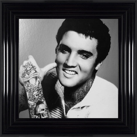 Elvis Presley Liquid Art Tattoos Biggon Black Framed Print Artwork Picture