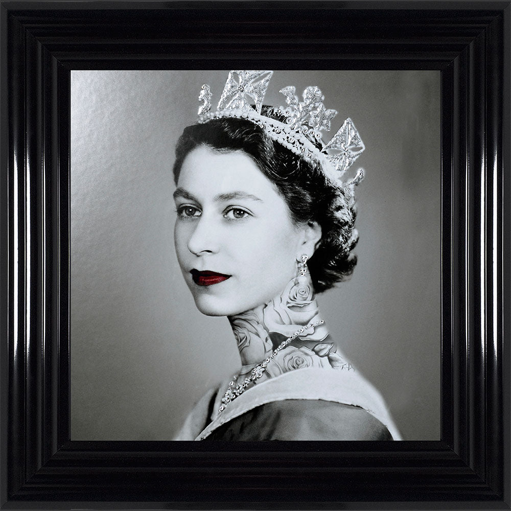 Swarovski Crystals Queen Elizabeth Liquid Art Tattoos Biggon Black Framed Print Artwork Picture