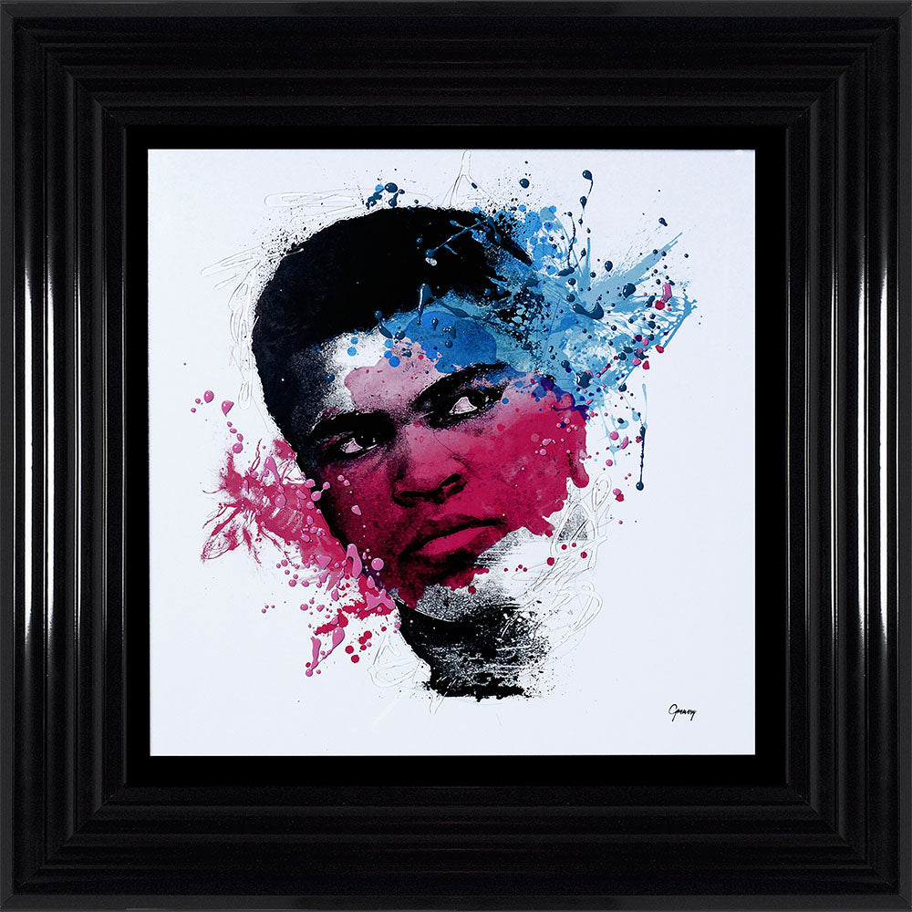 Muhammad Ali Colour Liquid Art Framed 55 x 55cm