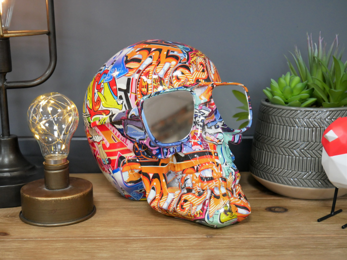 Graffiti Skull Mirror / Ornament